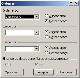 Cuadro de diálogo ordenar columna de Excel