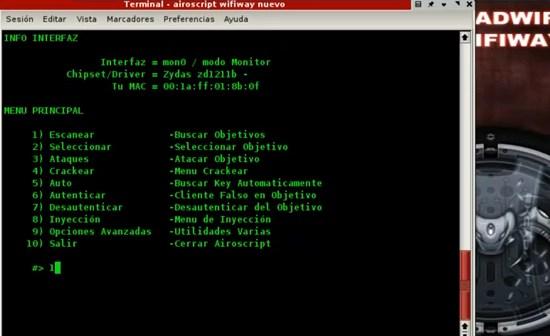 4 airoscript wifiway menu principal escanear