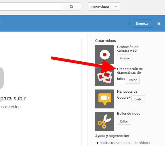 Crear una presentación de diapositivas en YouTube